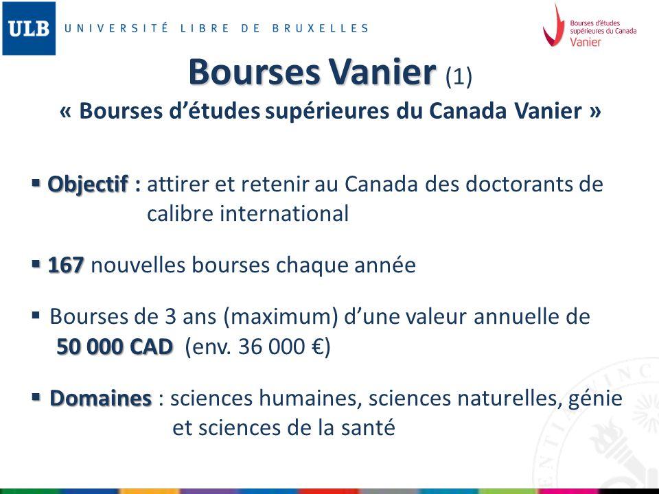 Bourses Vanier (1) « Bourses d'études supérieures du Canada Vanier »