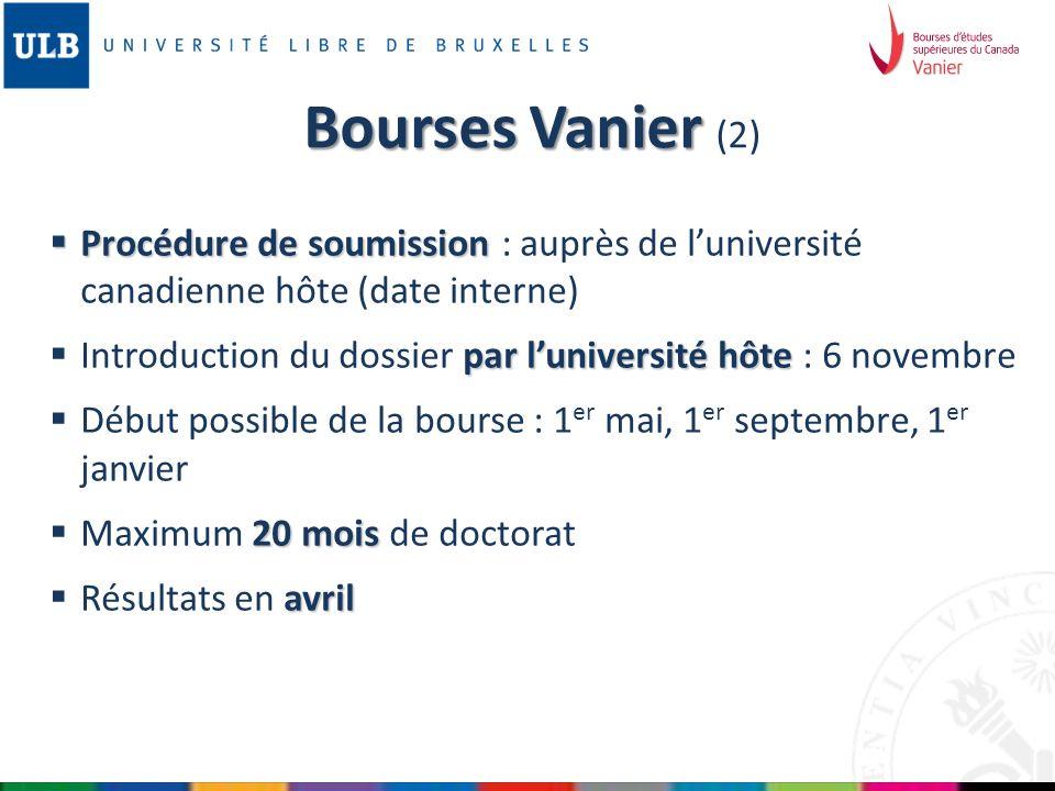 Bourses Vanier (2) Procédure de soumission : auprès de l'université canadienne hôte (date interne)