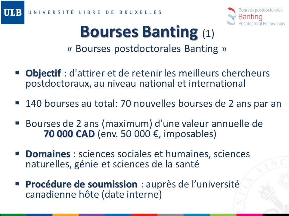 Bourses Banting (1) « Bourses postdoctorales Banting »