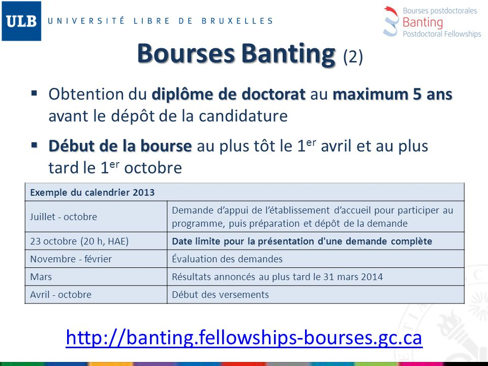 Bourses Banting (2) http://banting.fellowships-bourses.gc.ca