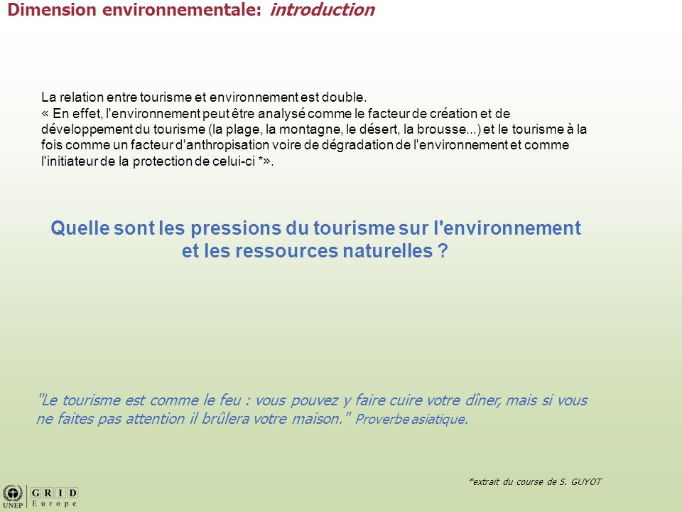 Dimension environnementale: introduction