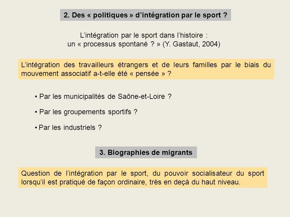 2. Des « politiques » d'intégration par le sport