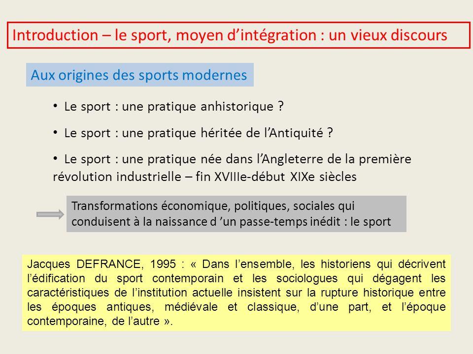 Introduction – le sport, moyen d'intégration : un vieux discours