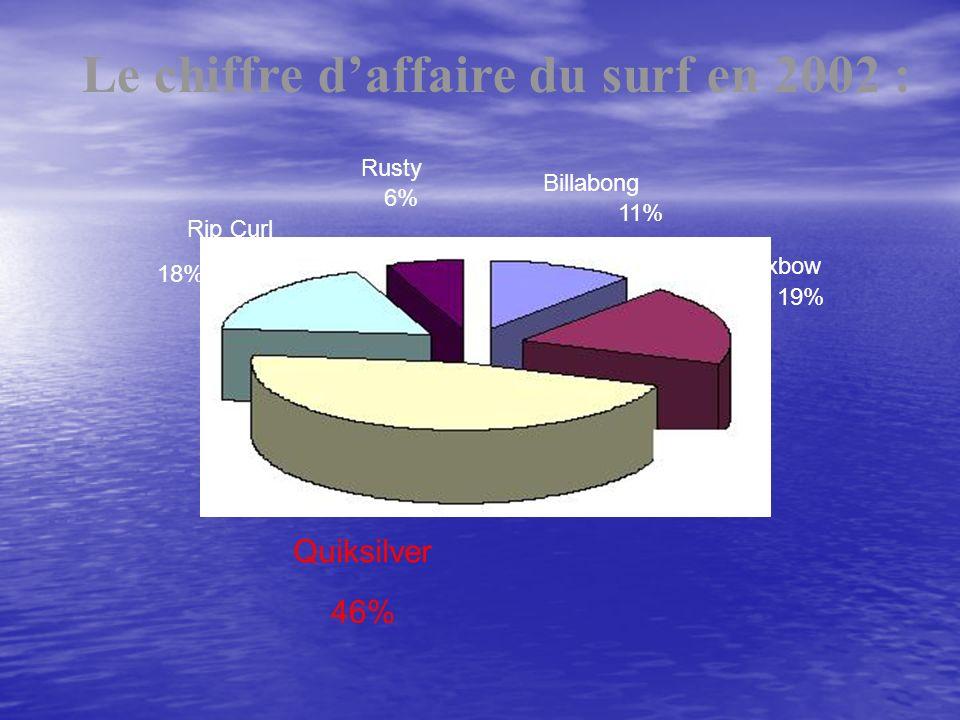 Le chiffre d'affaire du surf en 2002 :