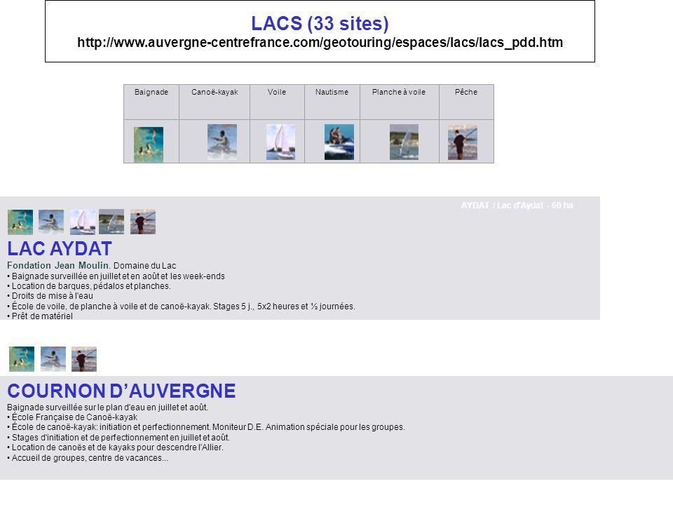 LACS (33 sites) http://www. auvergne-centrefrance