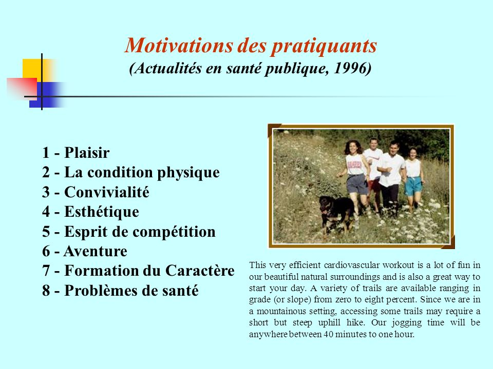 Motivations des pratiquants (Actualités en santé publique, 1996)