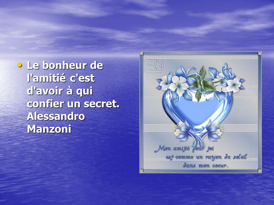 Le bonheur de l amitié c est d avoir à qui confier un secret