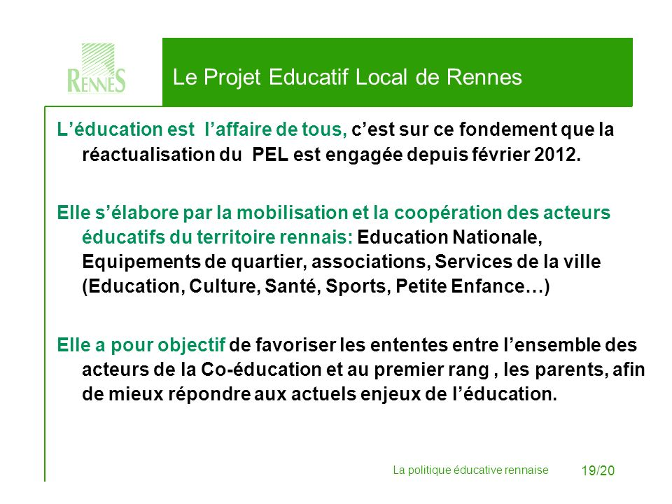 Le Projet Educatif Local de Rennes