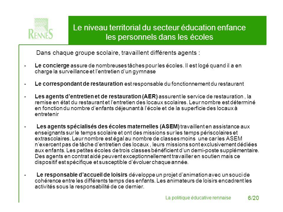 Le niveau territorial du secteur éducation enfance les personnels dans les écoles