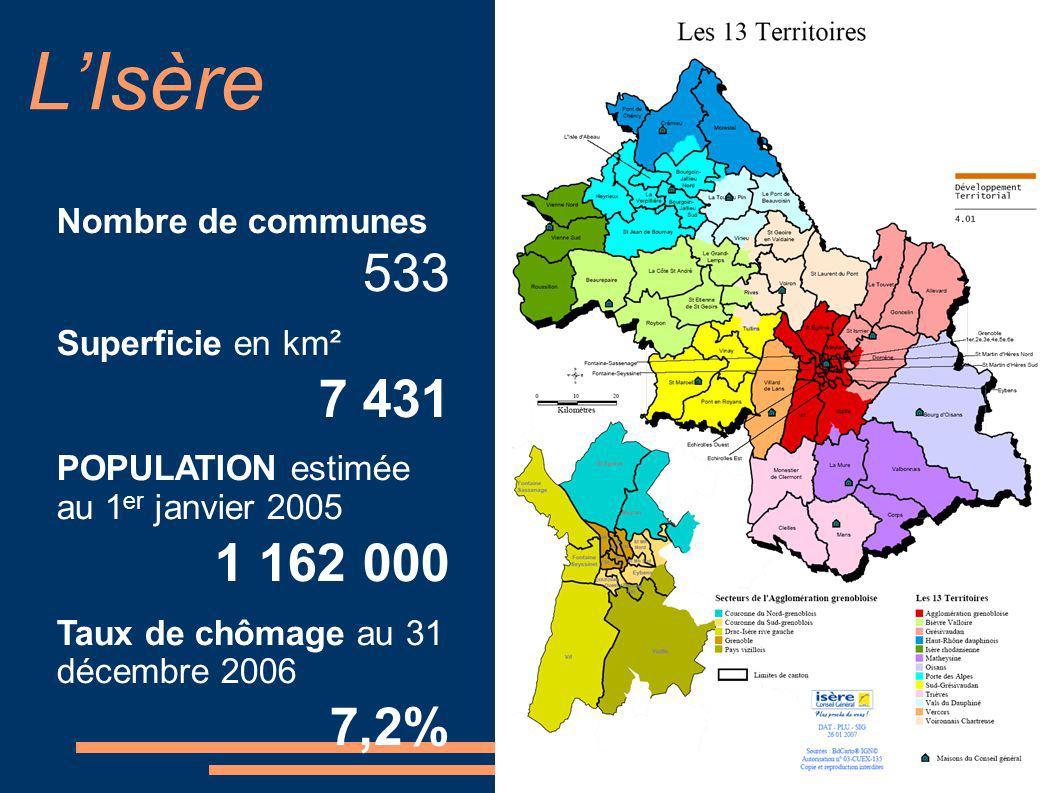 L'Isère Nombre de communes 533 Superficie en km² 7 431