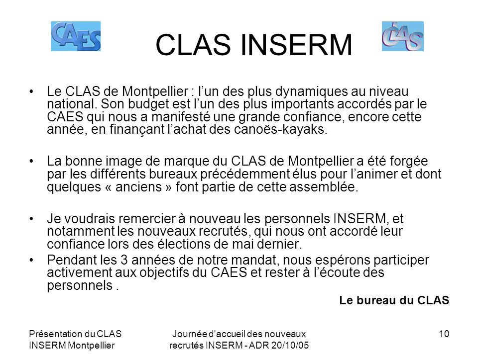 Journée d accueil des nouveaux recrutés INSERM - ADR 20/10/05