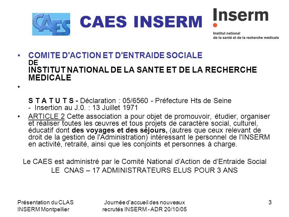CAES INSERM COMITE D ACTION ET D ENTRAIDE SOCIALE DE INSTITUT NATIONAL DE LA SANTE ET DE LA RECHERCHE MEDICALE.
