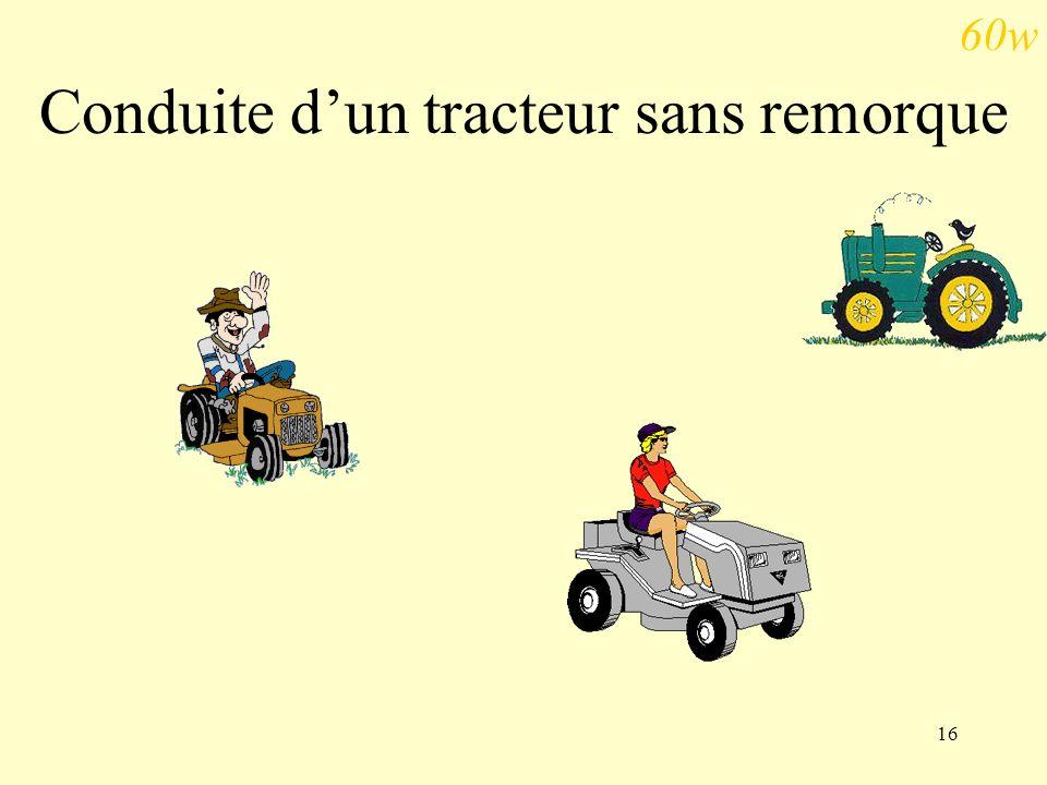 Conduite d'un tracteur sans remorque