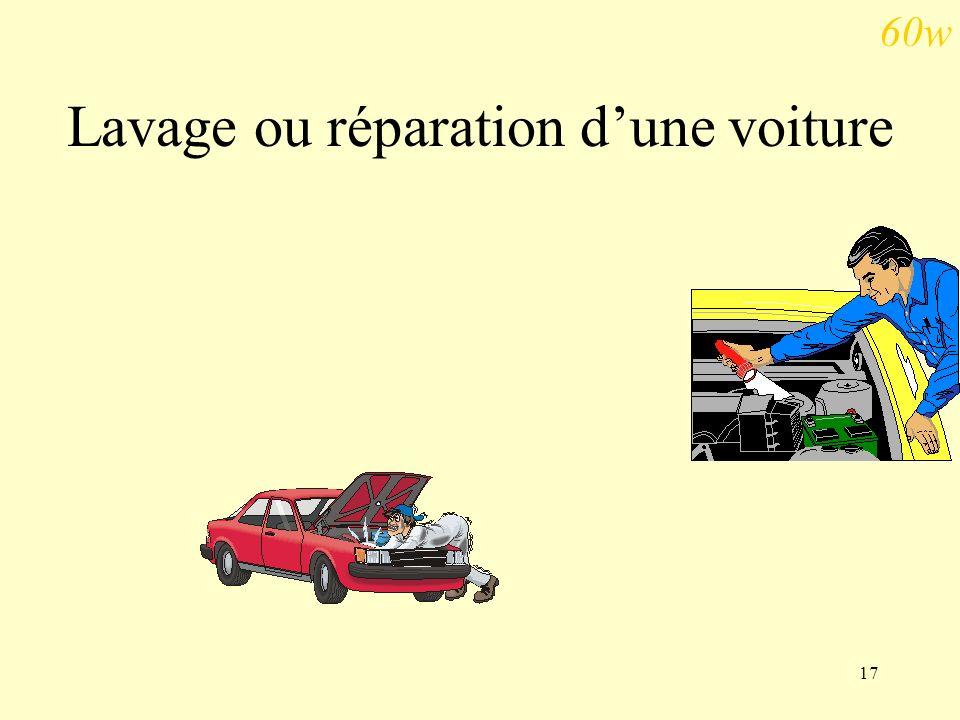Lavage ou réparation d'une voiture