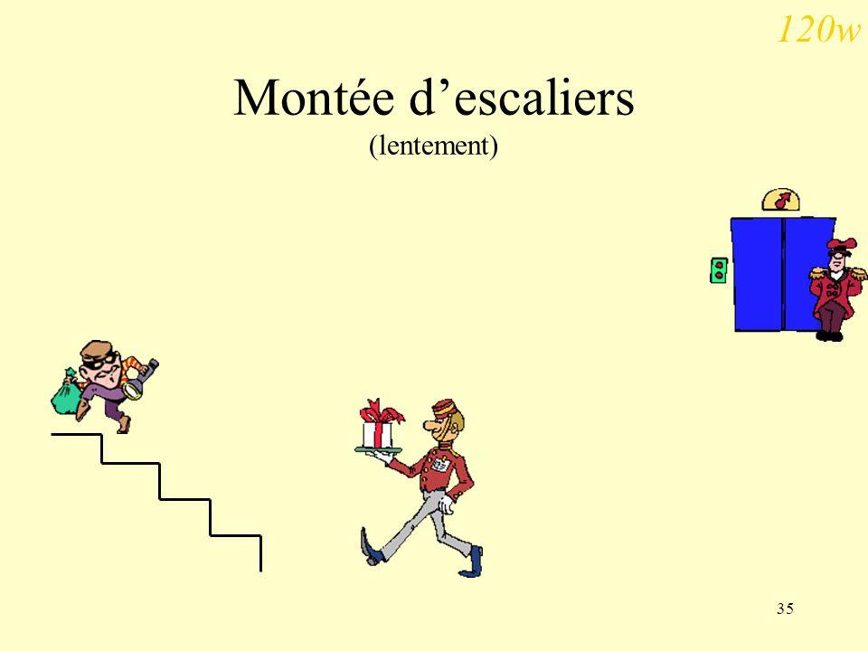 Montée d'escaliers (lentement)