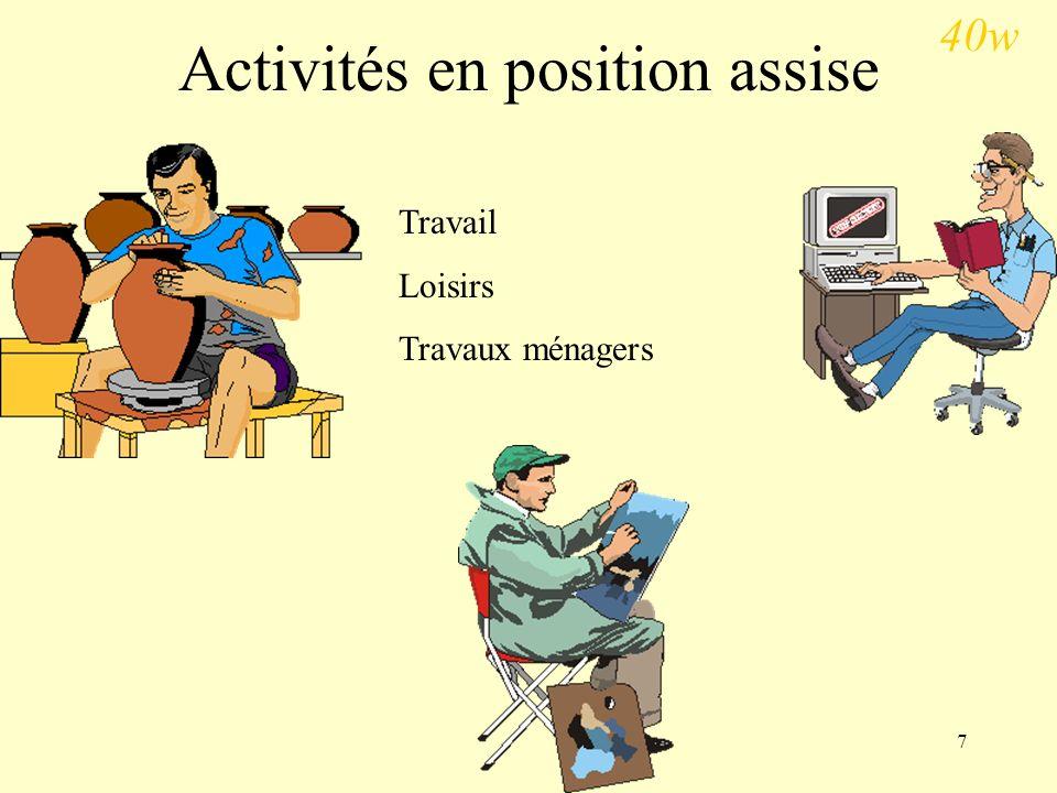 Activités en position assise