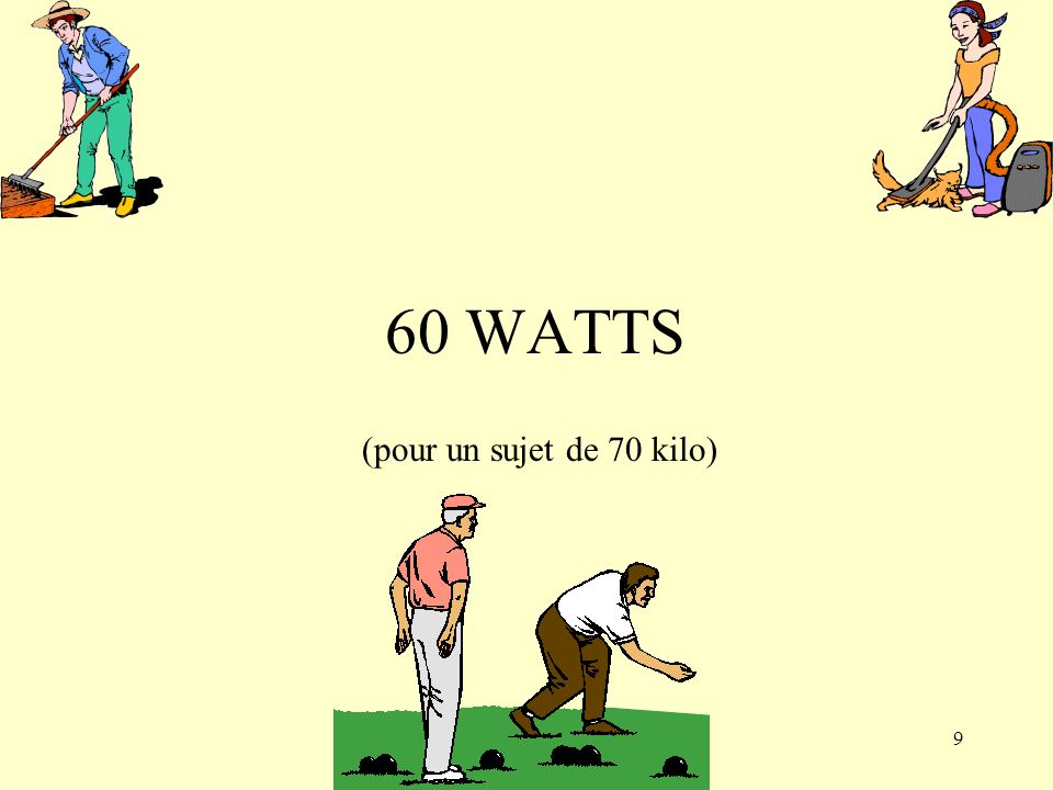 60 WATTS (pour un sujet de 70 kilo)