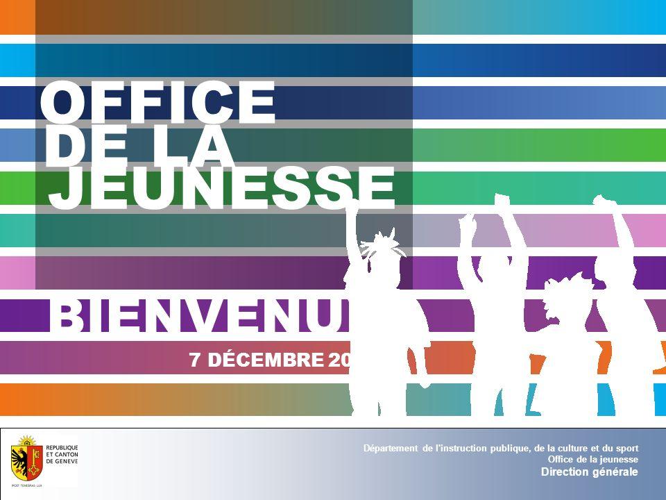 OFFICE DE LA JEUNESSE BIENVENUE 7 DÉCEMBRE 2010 Direction générale