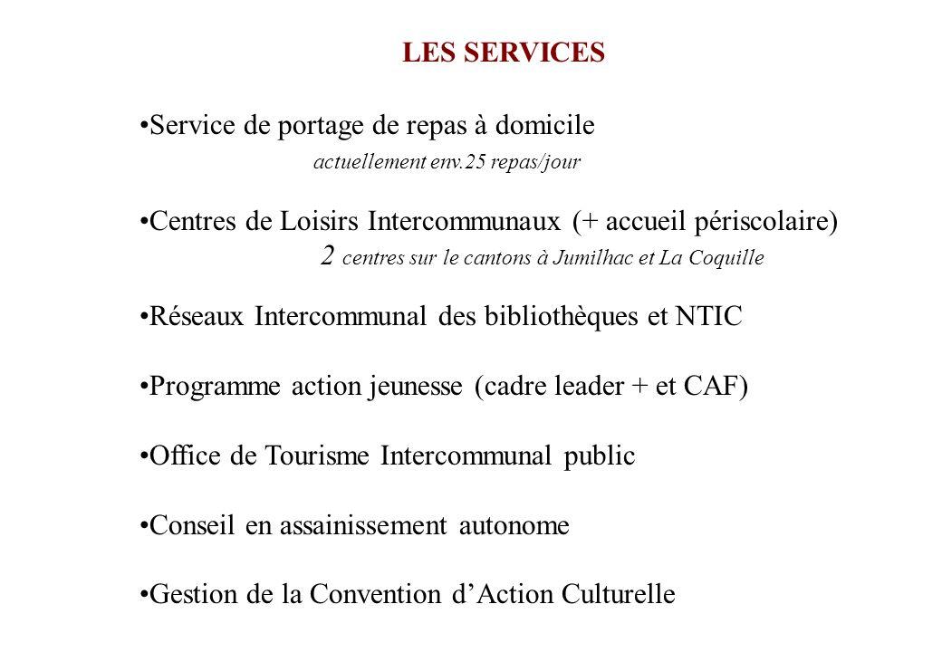 LES SERVICES Service de portage de repas à domicile. actuellement env.25 repas/jour. Centres de Loisirs Intercommunaux (+ accueil périscolaire)
