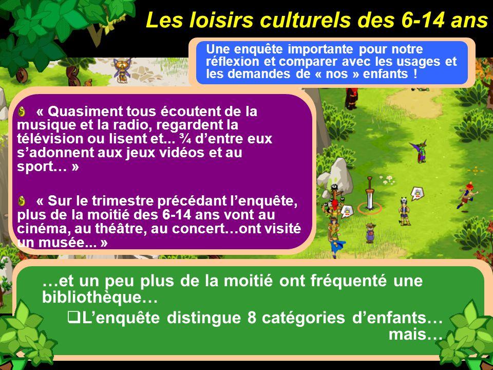 Les loisirs culturels des 6-14 ans
