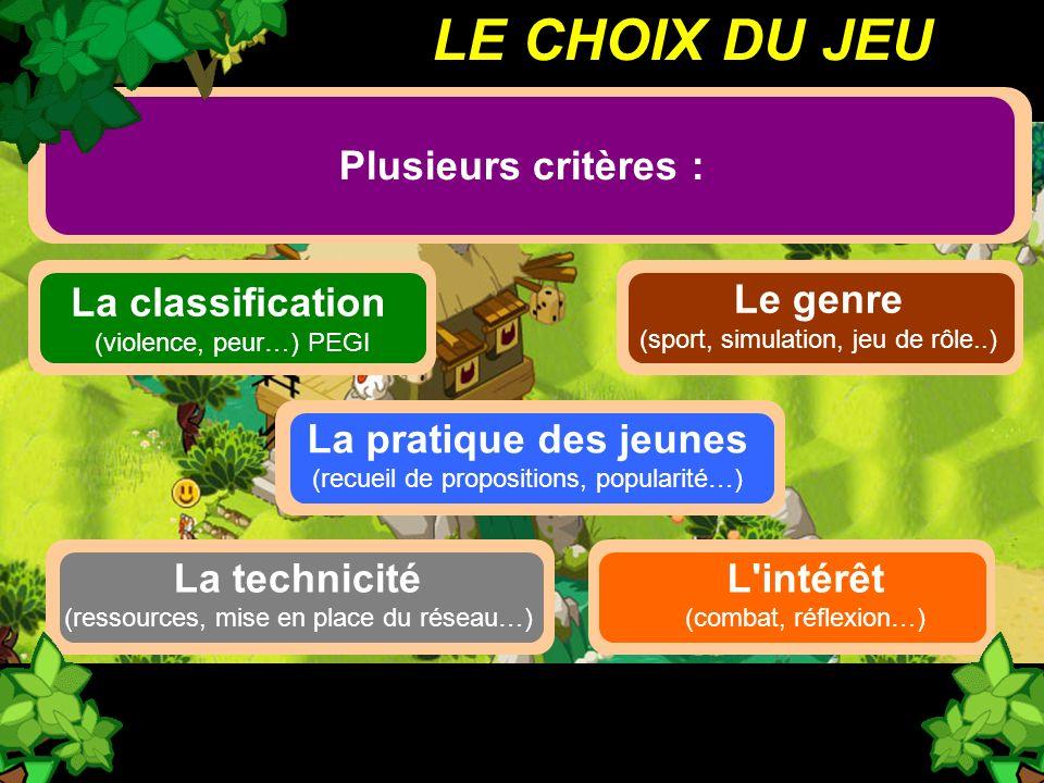 LE CHOIX DU JEU Plusieurs critères : La classification Le genre