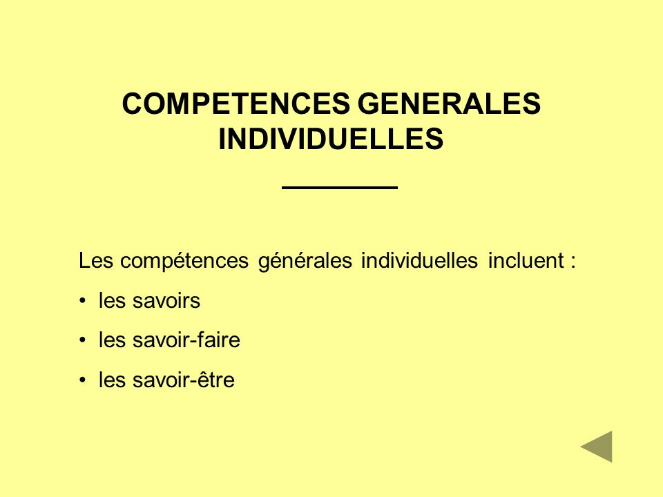 COMPETENCES GENERALES