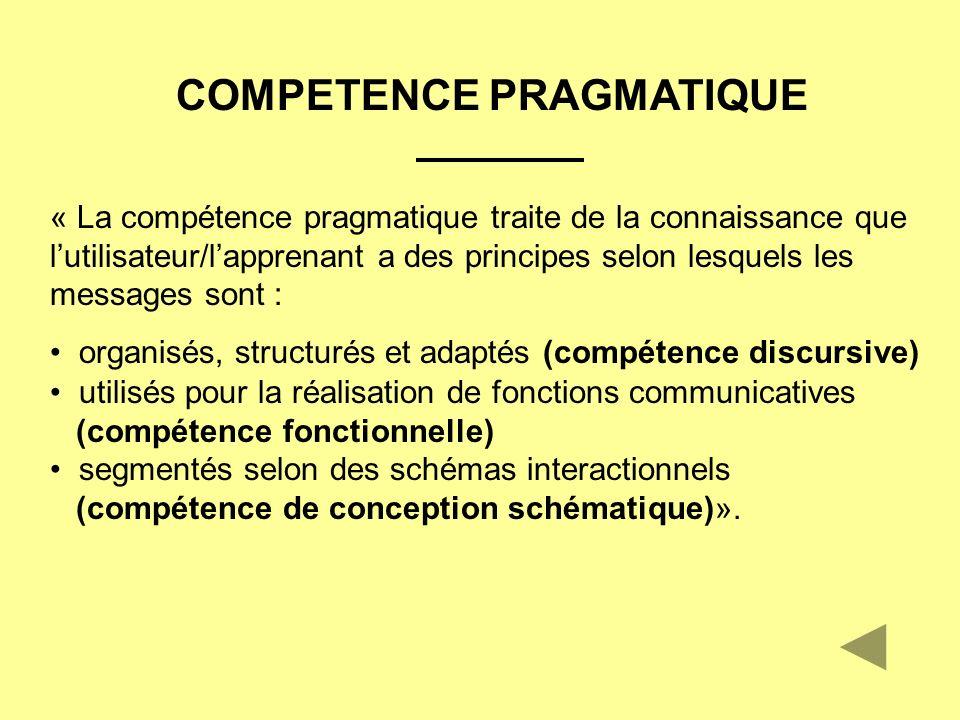 COMPETENCE PRAGMATIQUE