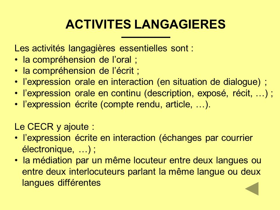 ACTIVITES LANGAGIERES