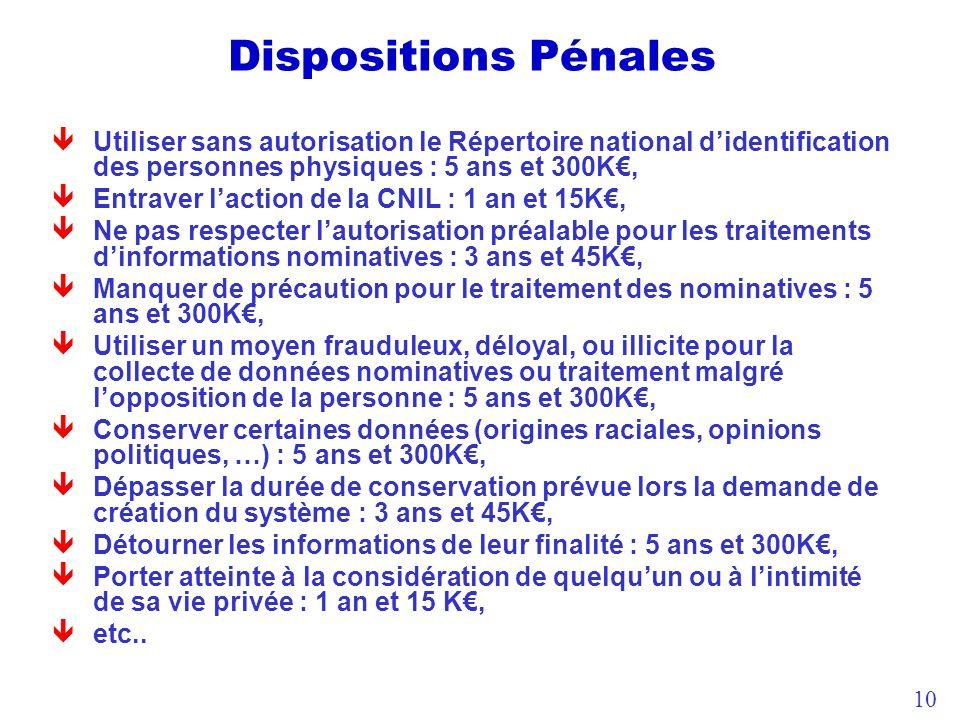 Dispositions Pénales Utiliser sans autorisation le Répertoire national d'identification des personnes physiques : 5 ans et 300K€,