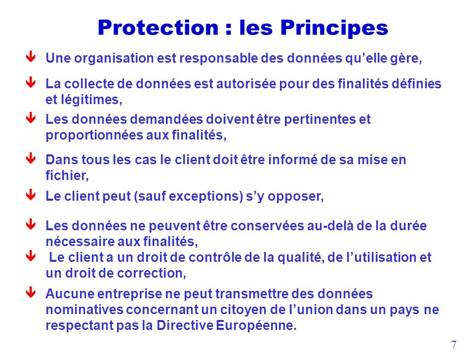 Protection : les Principes
