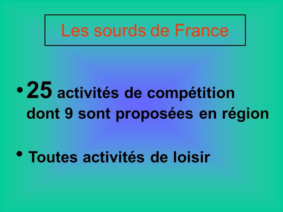 25 activités de compétition dont 9 sont proposées en région