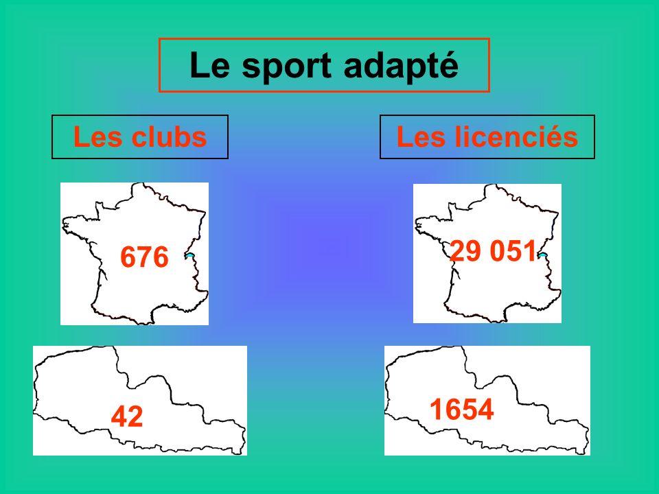 Le sport adapté Les clubs Les licenciés 676 29 051 42 1654