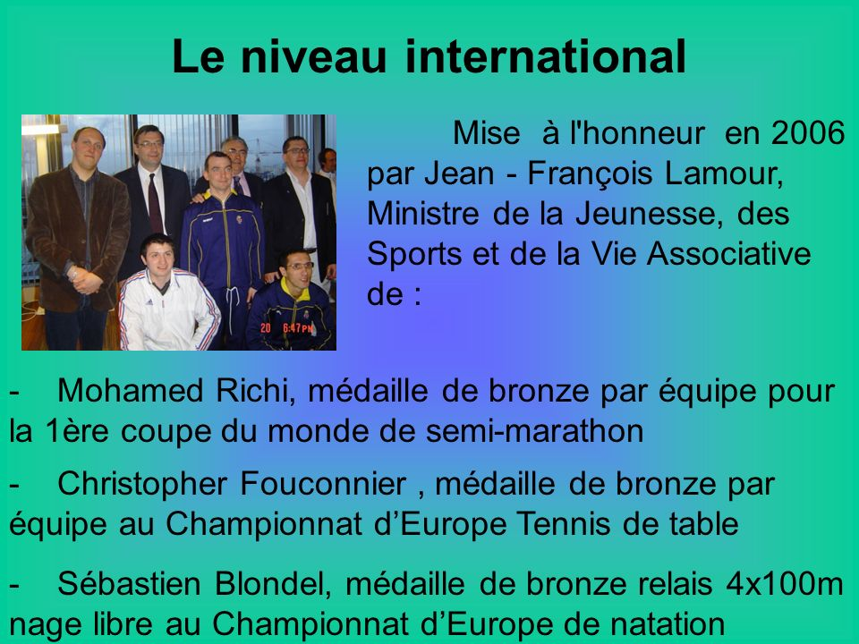 Le niveau international