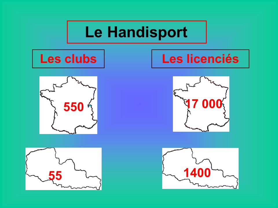 Le Handisport Les clubs Les licenciés 550 17 000 55 1400