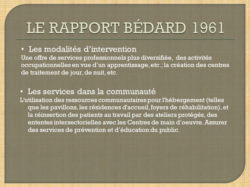 LE RAPPORT BÉDARD 1961 Les modalités d'intervention
