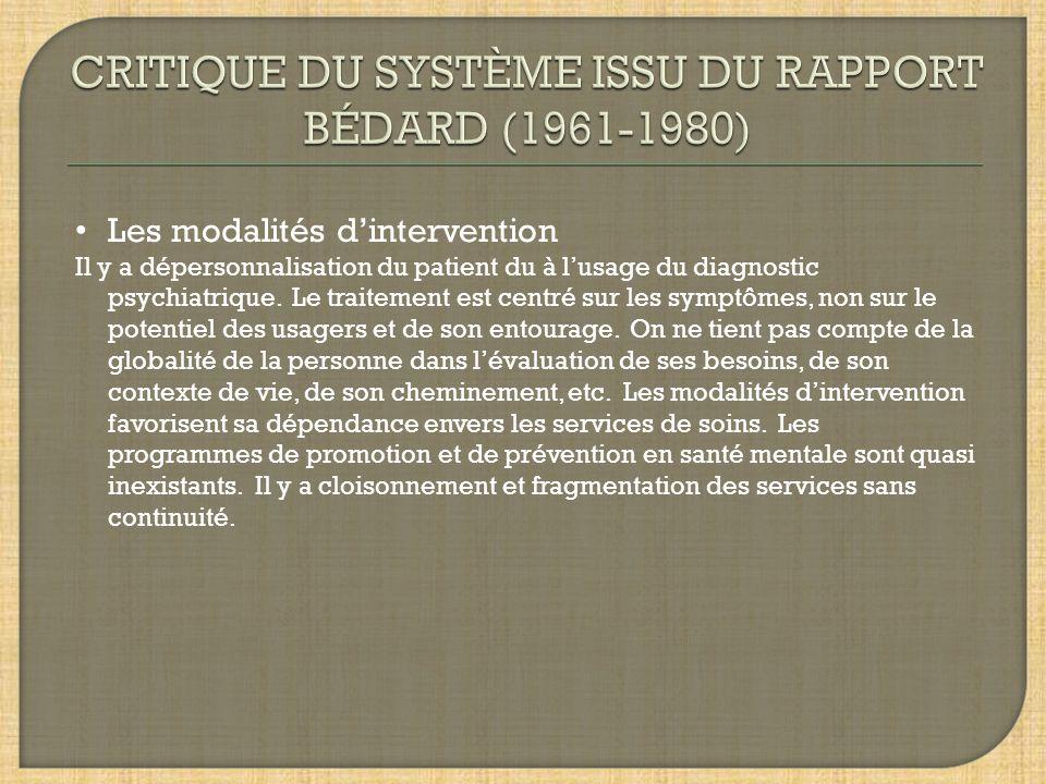 CRITIQUE DU SYSTÈME ISSU DU RAPPORT BÉDARD (1961-1980)