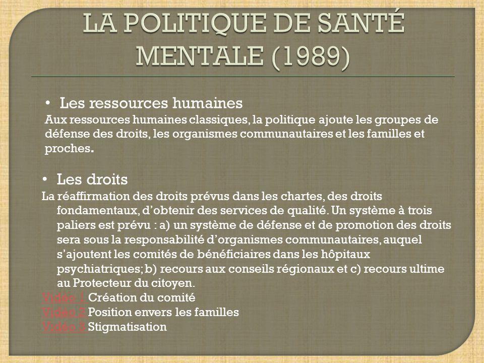 LA POLITIQUE DE SANTÉ MENTALE (1989)