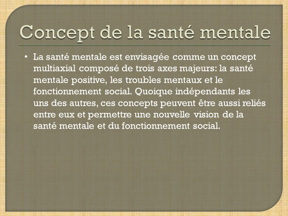 Concept de la santé mentale