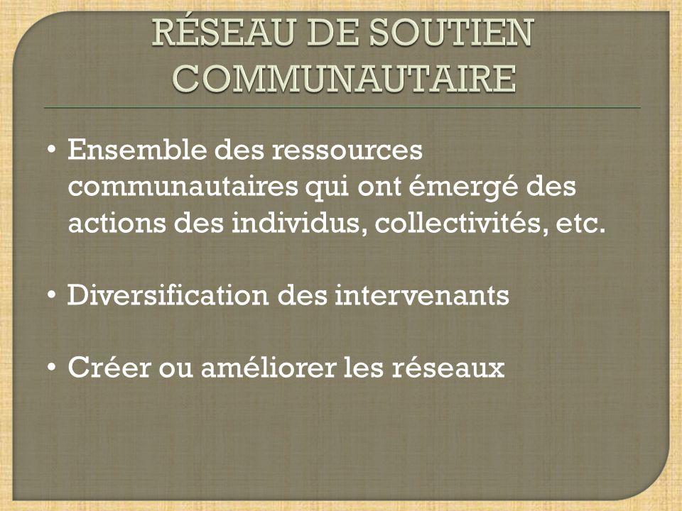 RÉSEAU DE SOUTIEN COMMUNAUTAIRE