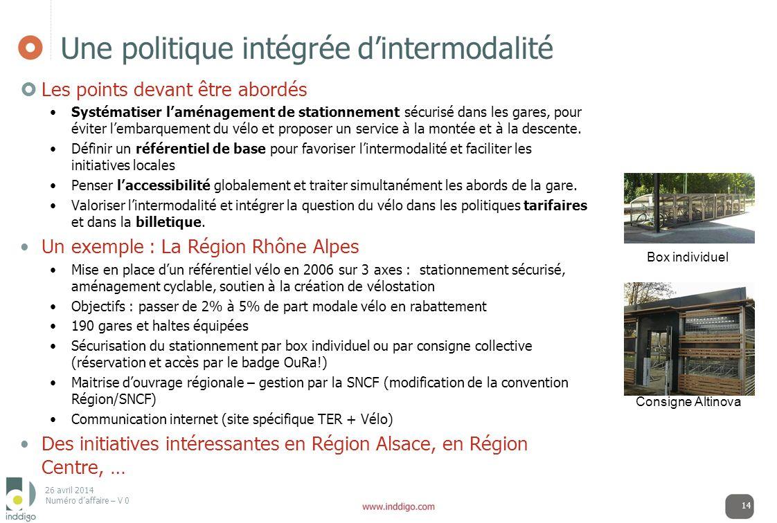 Une politique intégrée d'intermodalité