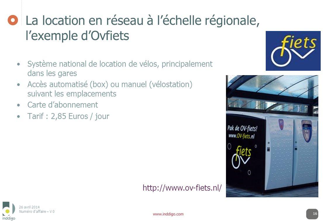 La location en réseau à l'échelle régionale, l'exemple d'Ovfiets