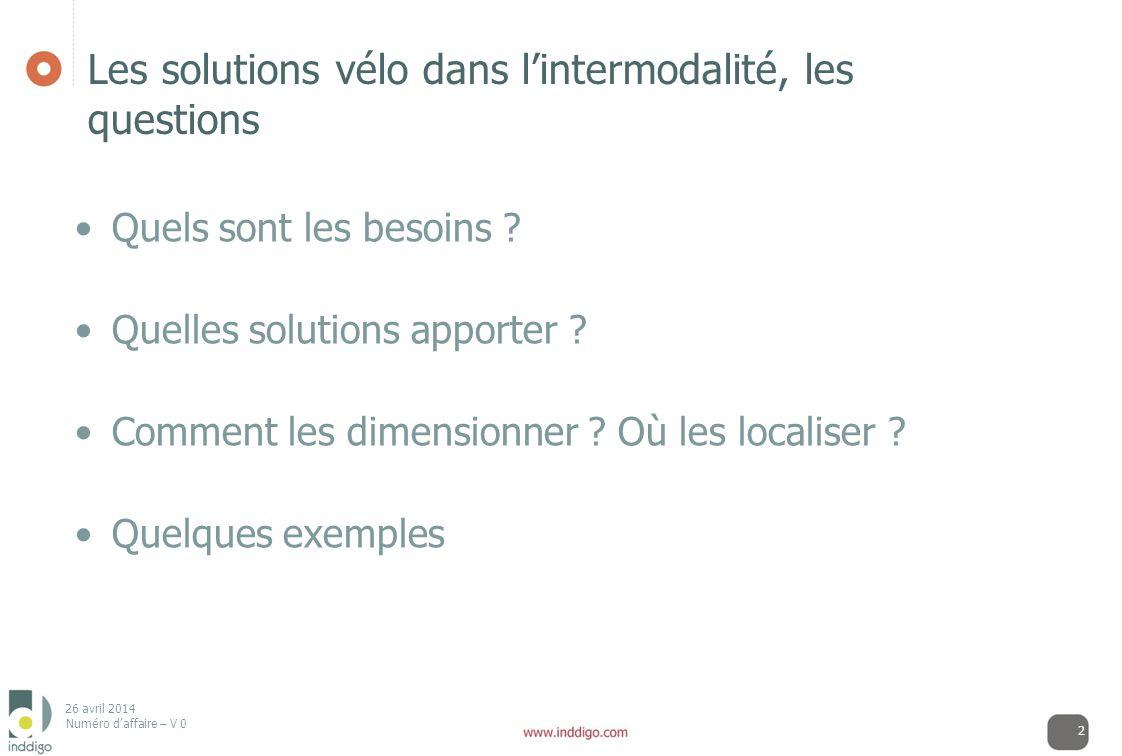 Les solutions vélo dans l'intermodalité, les questions
