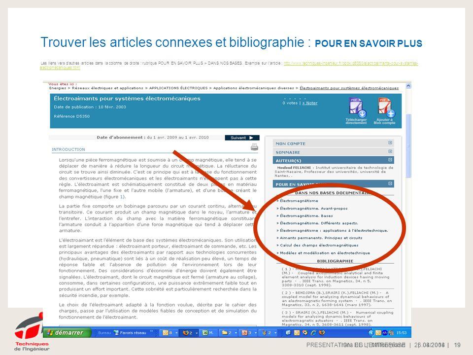 Trouver les articles connexes et bibliographie : POUR EN SAVOIR PLUS