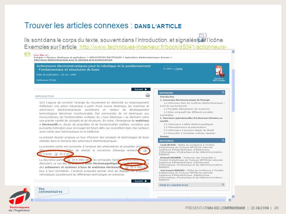 Trouver les articles connexes : DANS L'ARTICLE