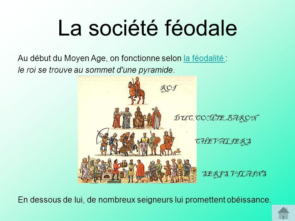 La société féodale Au début du Moyen Age, on fonctionne selon la féodalité : le roi se trouve au sommet d une pyramide.