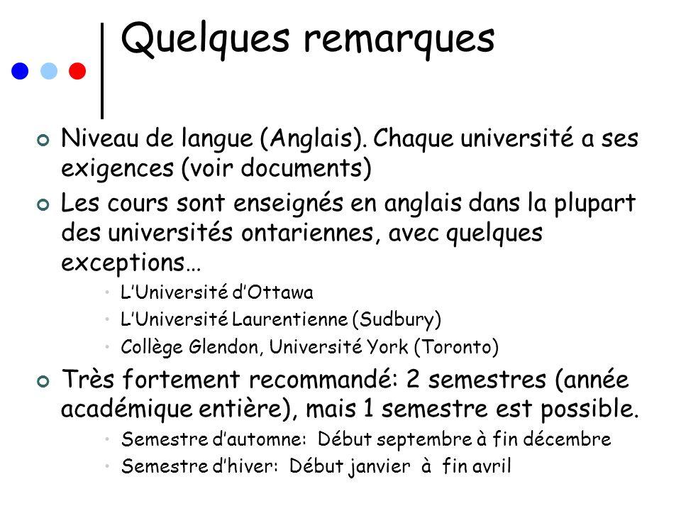 Quelques remarques Niveau de langue (Anglais). Chaque université a ses exigences (voir documents)