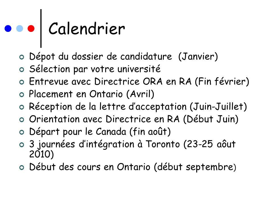 Calendrier Dépot du dossier de candidature (Janvier)