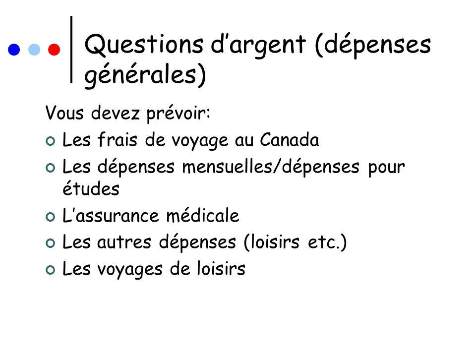 Questions d'argent (dépenses générales)