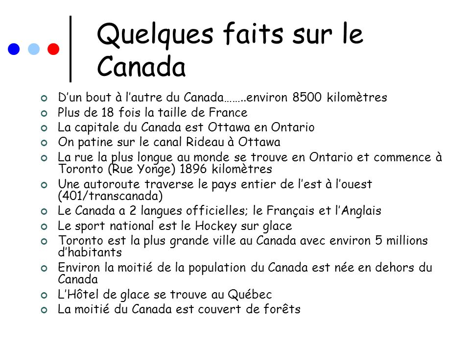 Quelques faits sur le Canada