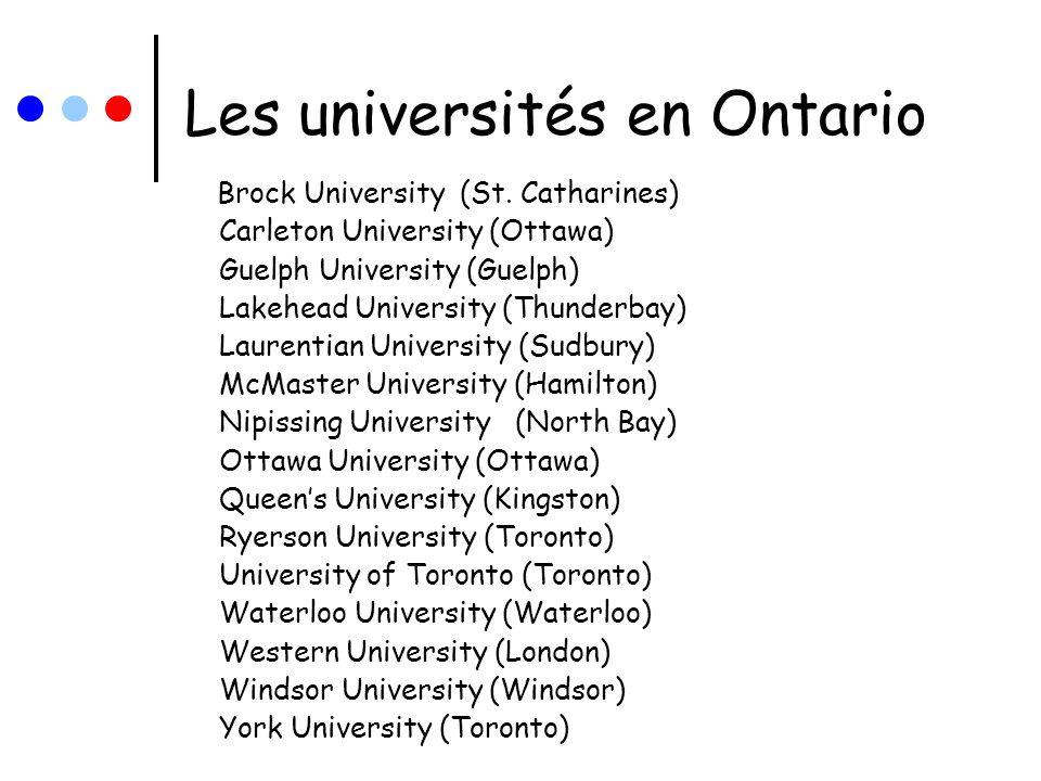 Les universités en Ontario